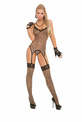 Leopard print camisette, g-string and stockings  - Leopard