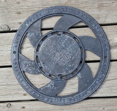 Antique Adams Co Vintage Round Cast Iron Floor Register Grate Advertising