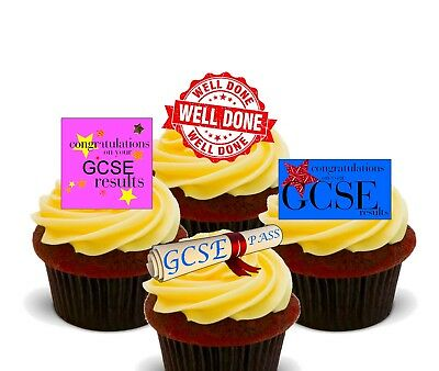 GCSE Congratulations Pack of 12 Edible Cup Cake Toppers, Fairy Bun Decorations