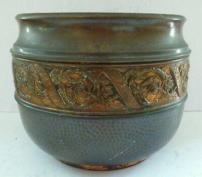 Antique Brass Real Copper Planter Pot Urn Vase Plant Holder English Made Rare
