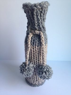 NEW Handmade Knit Crochet Wine Bottle Cover Sleeve Gift Bag Rustic GREY/BEIGE