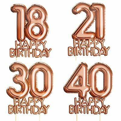 Rose Gold Cake Topper Decoration Birthday Ages Milestone Pick Food Glitz