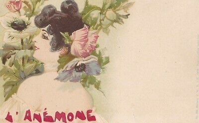 Jack Abeille   Art Nouveau Lady with anemones in her hair