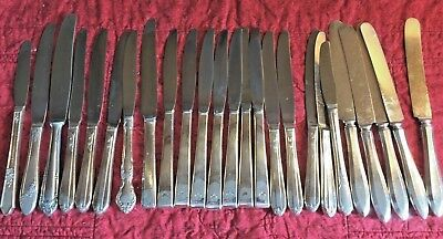 25 pc Vintage Silverplate Flatware Mixed Hollow Handle Knife Craft Lot No Monos