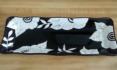 "Laurie Gates~Black & White Floral/Flowers 18"" Rectangular Serving dish/tray"