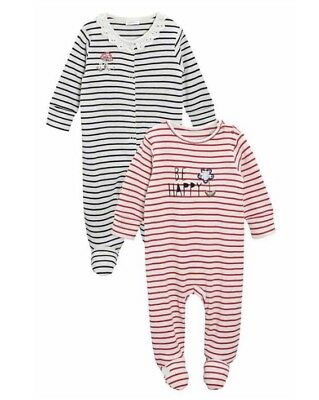 ⭐️bnwt⭐️ Next Baby Girl Sleepsuits Babygrow Two Pack Stripe Flower 3-6 Months