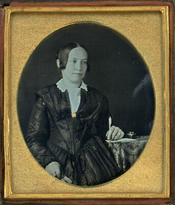 Rare Woman Writer With Gold Tipped Quill Pen & Ink Well Dag Daguerreotype