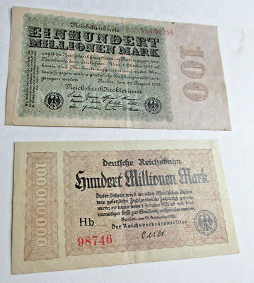 2 Diff. 1923 German 100 Million Marks Banknotes, Germany Paper Money, 1 RR Issue