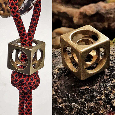Brass Hollow Out Cube Paracord Beads Vintage Metal Knife Tools Cord Lanyard Bead