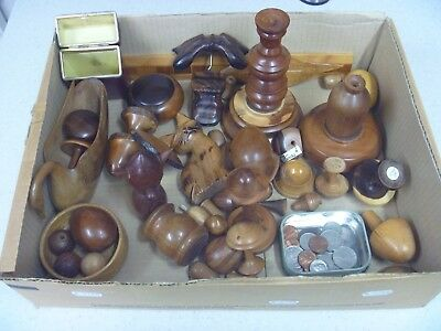 Box  Of  Wooden  Items / Treen