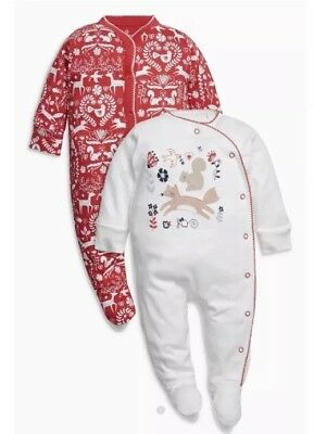 ⭐️New⭐️ BNWT NEXT BABY GIRL CHRISTMAS SLEEPSUITS GIFT BODYSUITNEWBORN 0-3 MONTHS