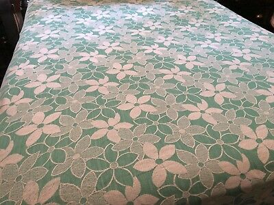 "Vintage MONUMENT Green White Floral Woven Full Double Bedspread 84"" W x 90"" L"