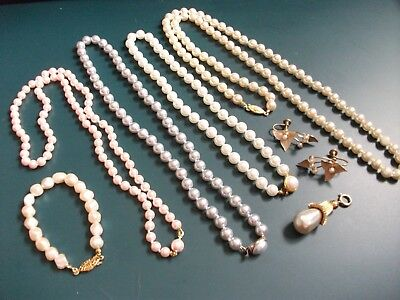 7 PC vintage pearl necklaces, bracelet, pendant, earring costume jewelry lot