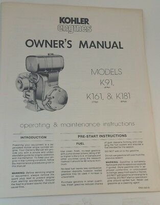 Kohler k series k91 k161 k181 engine service manual 1635 picclick kohler k91 4hp k161 7hp k181 8hp engine owners operators publicscrutiny Gallery