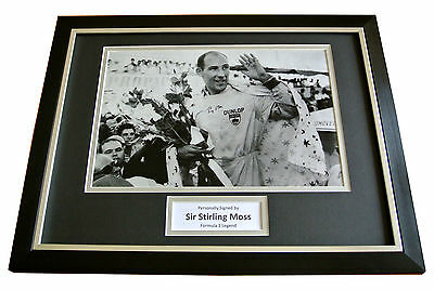 Sir Stirling Moss Signed & Framed Autograph Photo Display Formula 1 Gift & Coa