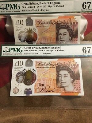 2016 Great Britain Bank of England 10 Pounds, PMG 67 EPQ S. GEM UNC, 2x Consec.