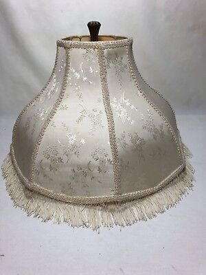 Vintage Victorian Floral Damask Cream Fabric Bell Lamp Shade w/Fringe Large