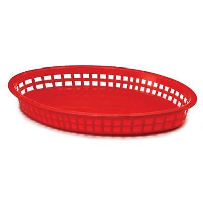 "Tablecraft 1086R Jumbo Serving Basket 12-3/4""W x 9-1/2""D x 1-1/2""H, Oval, Red"