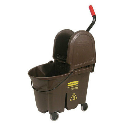 Rubbermaid Wavebrake Mop Bucket/Wringer Combo 35 Qt. Down Press, Brown