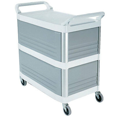 Rubbermaid FG409300OWHT Utility Cart - Plastic, Enclosed on 3 Sides, Black