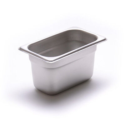 """Steam Table Pan - 24 Gauge, Stainless Steel Ninth-Size, 4""""H"""