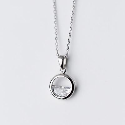 Sterling Silver Simple Round Pendant Necklaces Women Girls Fashion Choker New