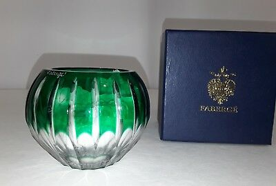 FABERGE LEAD CRYSTAL VOTIVE CANDLE HOLDER BOWL HAND CUT CRYSTAL Green