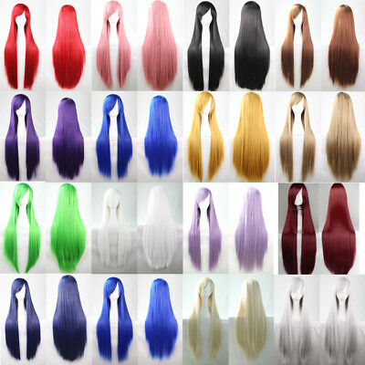 """32""""/80cm Long Straight Cosplay Wig 21 Colors heat resistant Women Full Wigs"""