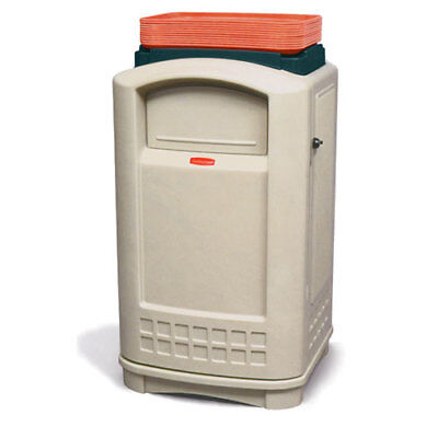 Rubbermaid Plaza Waste Receptacle W/Standard Swing Doors and Tray Top, Beige