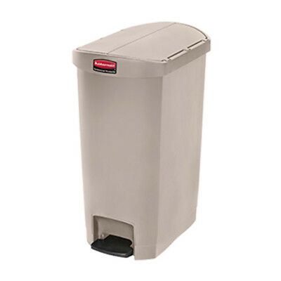 Rubbermaid Slim Jim 50L/13G End-Step Step-On Waste Bin, White