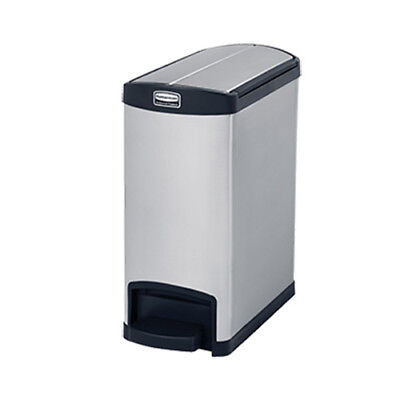 Rubbermaid 1901989 Slim Jim 30L/8G Metal End Step Step-On Waste Bin, Red