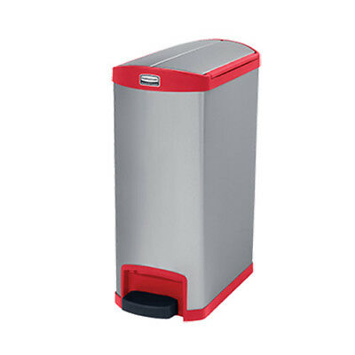 Rubbermaid 1901996 Slim Jim 50L/13G Metal End Step Step-On Waste Bin, Red