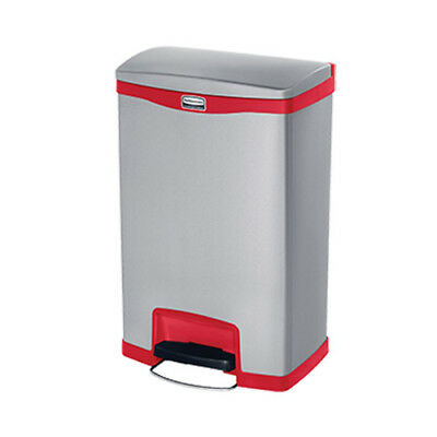 Rubbermaid 1901995 Slim Jim 50L/13G Metal Front Step Step-On Waste Bin, Red