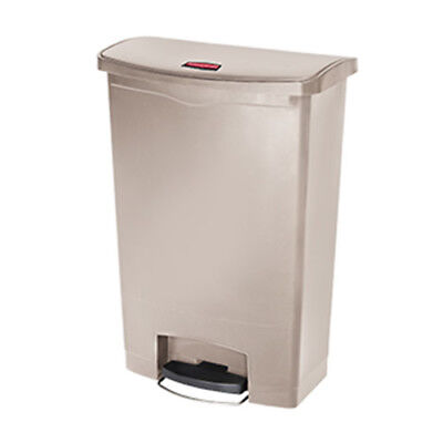 Rubbermaid Slim Jim 90L/24G Resin Construction Step Waste Bin, Beige