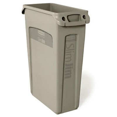 Rubbermaid Slim Jim Container 23 Gallon Cap. with Venting Channels, Beige