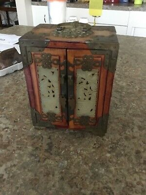Vintage Asian Chinese Unusual Wood & Jade Inset Jewelry Box  w/ Brass & Bat Dec.