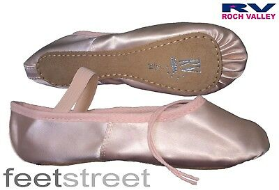 Roch Valley UK Sized Premium Pink Satin Ballet Shoes Pre-Sewn Elastic ch4 to ad7
