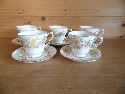 5 x Cups and Saucers - Colclough Hedgerow Bone China