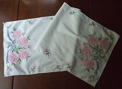 Pretty Vintage Hand Embroidered Table Runner Pink Cross Stitch Roses Buds Bows