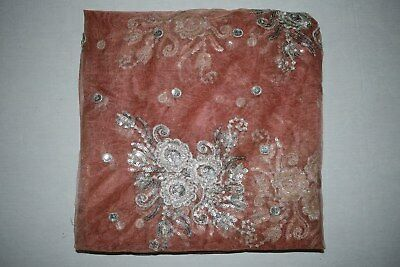 Exotic Floral Indian Wedding Dupatta Scarf Sequins Embroidery Net Fabric Veil L""