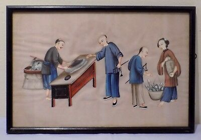 Antique 19thC Qing Chinese Watercolour Painting on Rice Pith Fishmonger Merchant