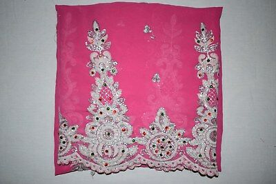 Traditional Antique Florel Dupatta Long Scarf Hand Emb Beaded Fabric Veil Stole