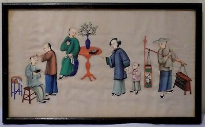 Antique 19thC Qing Chinese Watercolour Painting Rice Pith Barber Hairdresser