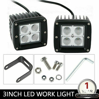 2X Cube LED Work Light Pods 4inch 27W Flood Off-road Driving Lawn Mower ATV 3X3