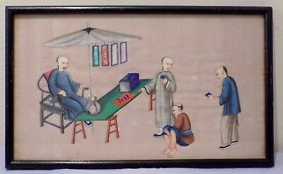 Antique 19thC Qing Chinese Watercolour Painting on Rice Pith Doctor / Medicine