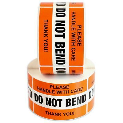 """DO NOT BEND Please Handle With Care Label Stickers 2"""" x 3"""" 1000 Labels [2 Rolls"""