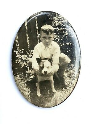Antique Pitbull Pit Bull Dog with Child Celluloid Photograph Hand Mirror