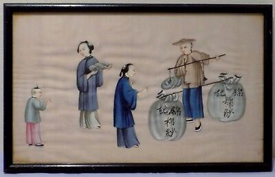 Antique 19thC Qing Chinese Watercolour Painting on Rice Pith Bird Nest Merchant