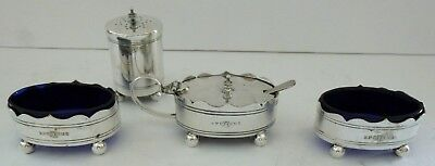 Victorian Silver Plate EPNS Bee Salt Pepper Mustard Pot Cruet Condiment Set Rare