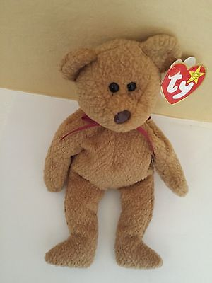Rare Retired Ty Beanie Baby 'Curly' The Bear With Errors and Mint Tags